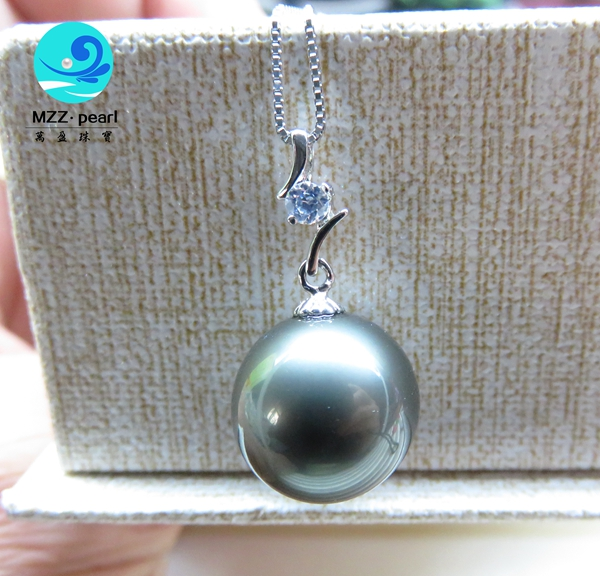 Large black pearl pendant 13 14mm luxury big pearl very attractive attracting large black pearl pendant 13 14mm necklace chain mozeypictures
