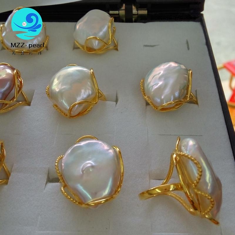 925 Silver Ring 20 28mm Big Size Baroque Irregular Pearl Ring